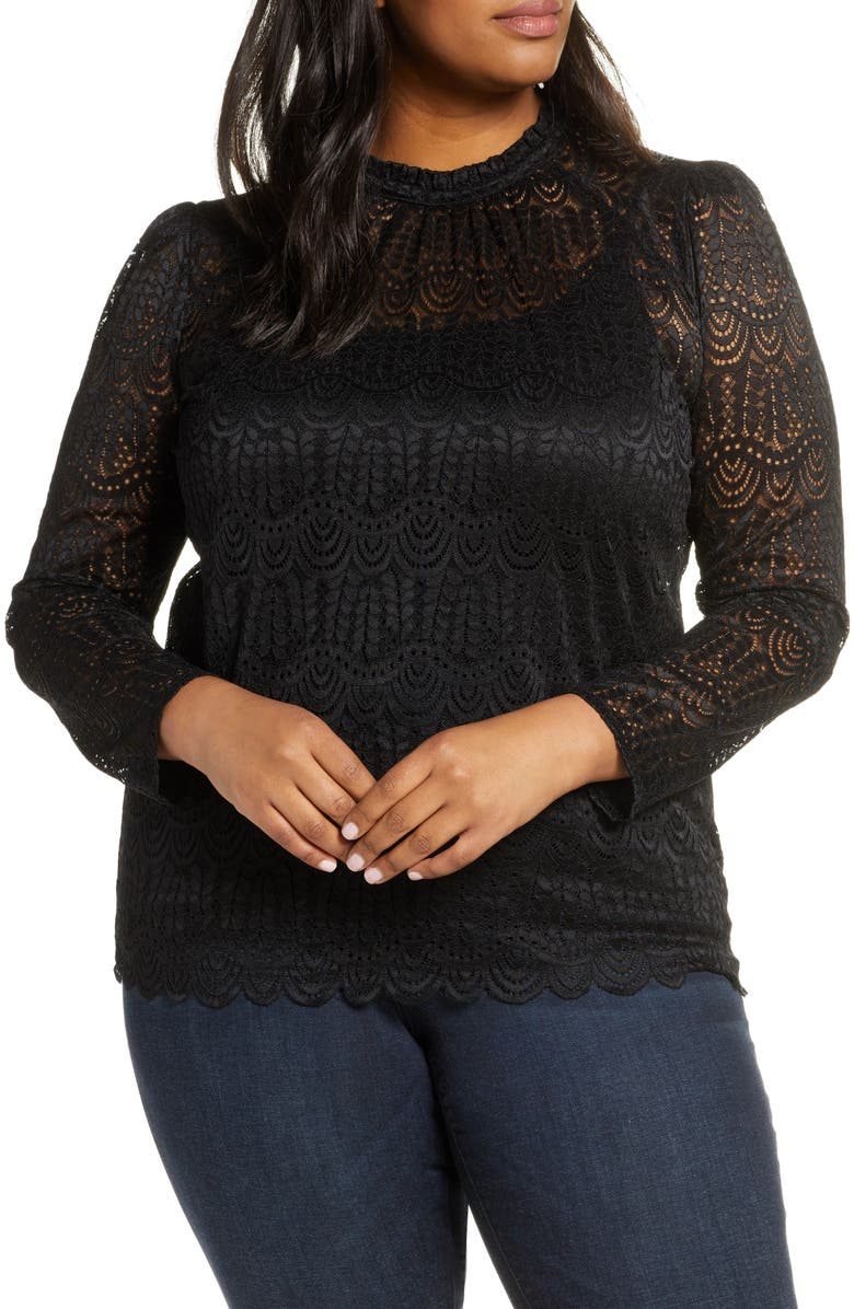GIBSON Puff Sleeve Lace Top, Main, color, 001