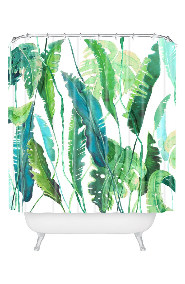 DENY DESIGNS Leaves Shower Curtain, Main, color, GREEN