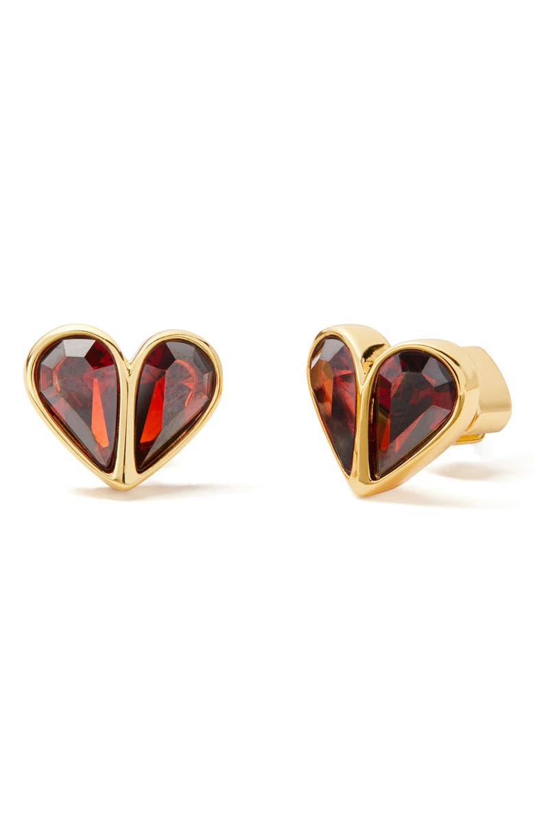 KATE SPADE NEW YORK rock solid small heart stud earrings, Main, color, RUBY/ GOLD