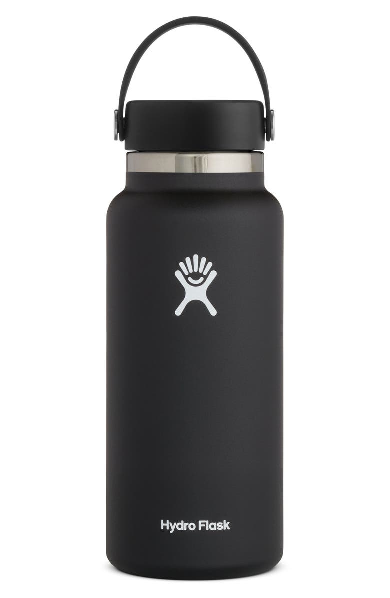 HYDRO FLASK 32-Ounce Wide Mouth Cap Bottle, Main, color, BLACK 2.0
