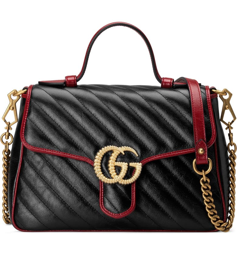 GUCCI Small GG 2.0 Matelassé Leather Top Handle Bag, Main, color, 001