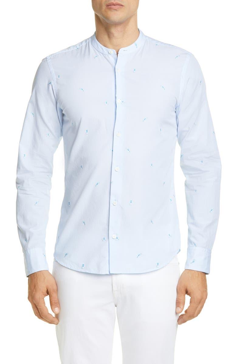Z ZEGNA Tennis Stripe Band Collar Extra Slim Fit Shirt, Main, color, LIGHT BLUE