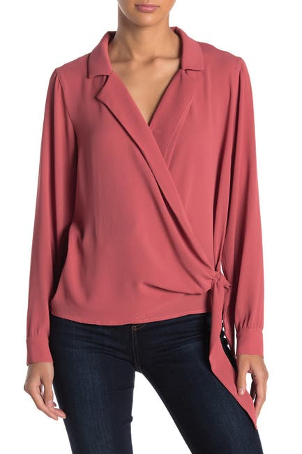 Image of Lush Long Sleeve Wrap Blouse