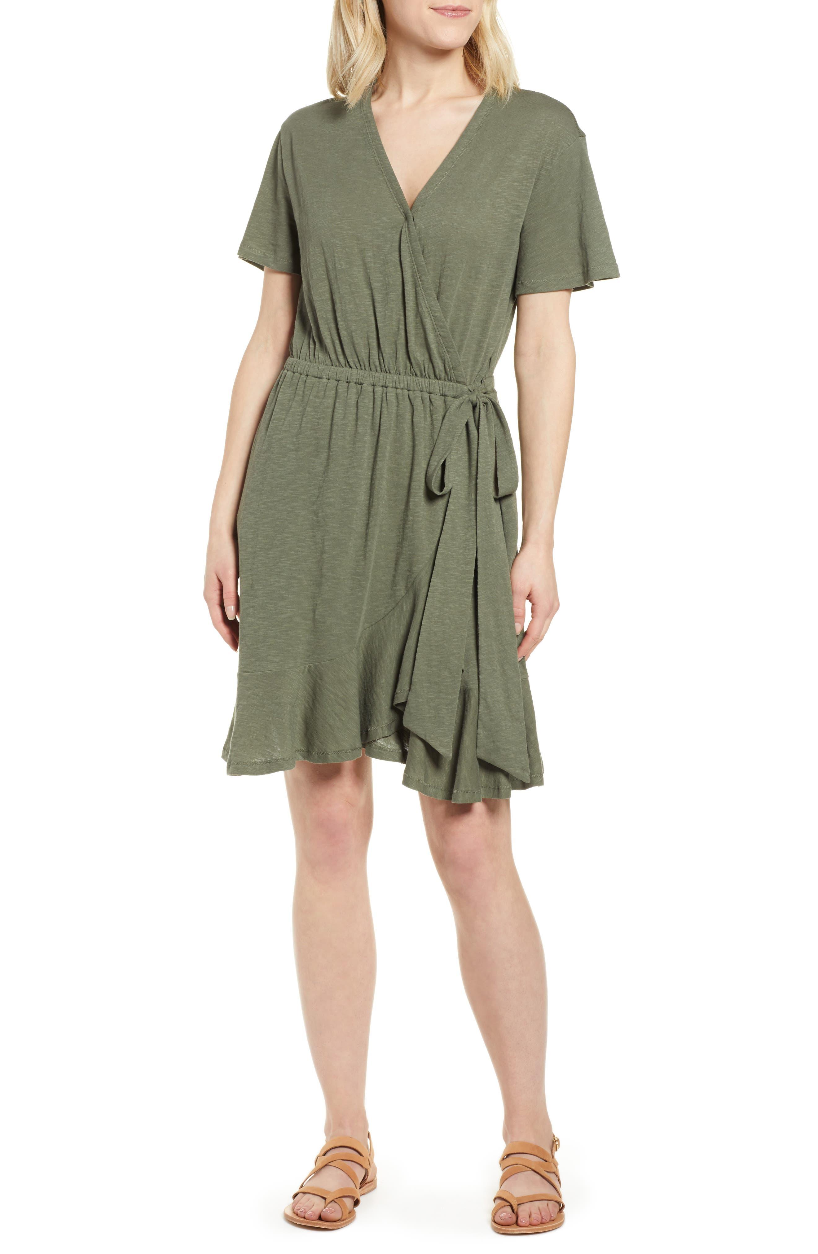Petite Caslon Asymmetrical Hem Faux Wrap Dress, Green