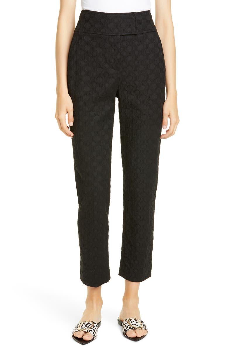 REBECCA TAYLOR High Waist Jacquard Pants, Main, color, 001
