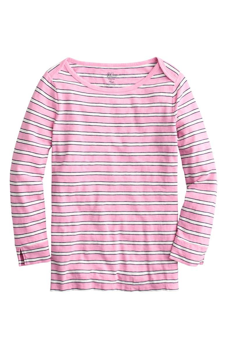 J.CREW Stripe Boatneck Painter T-Shirt, Main, color, ARI STRIPE LARKSPUR IVORY
