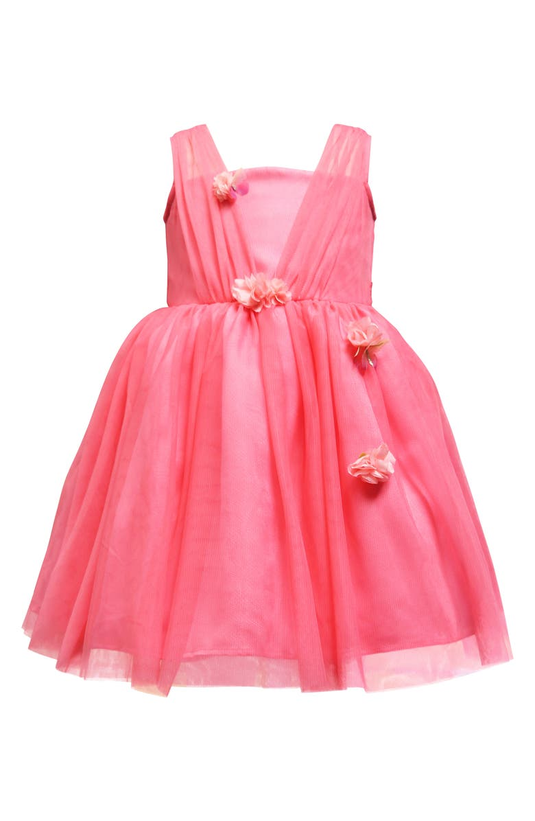 AVA & YELLY 3D Detail Tulle Party Dress, Main, color, CORAL