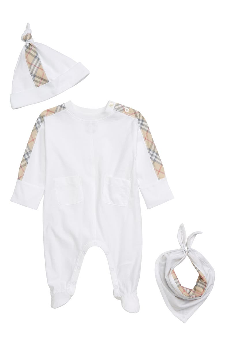 BURBERRY Colby Footie, Hat & Bib Set, Main, color, WHITE