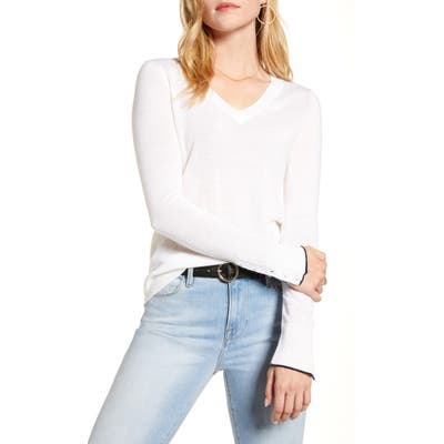 1901 V-Neck Merino Wool Blend Sweater, Ivory