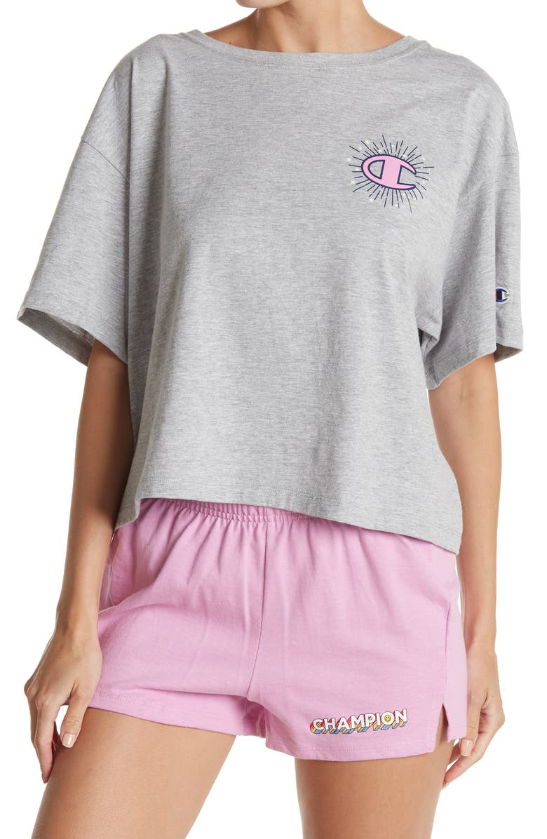 CHAMPION The Cropped Graphic Tee, Main, color, OXFORD GRAY