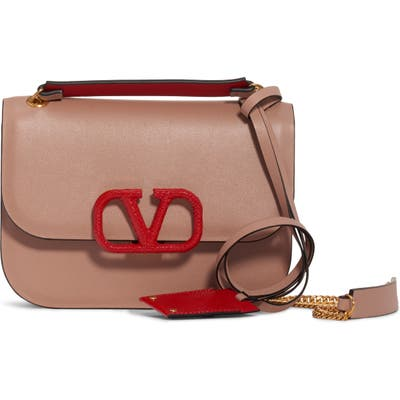Valentino Garavani Small Vlock Chain Calfskin Shoulder Bag - Coral