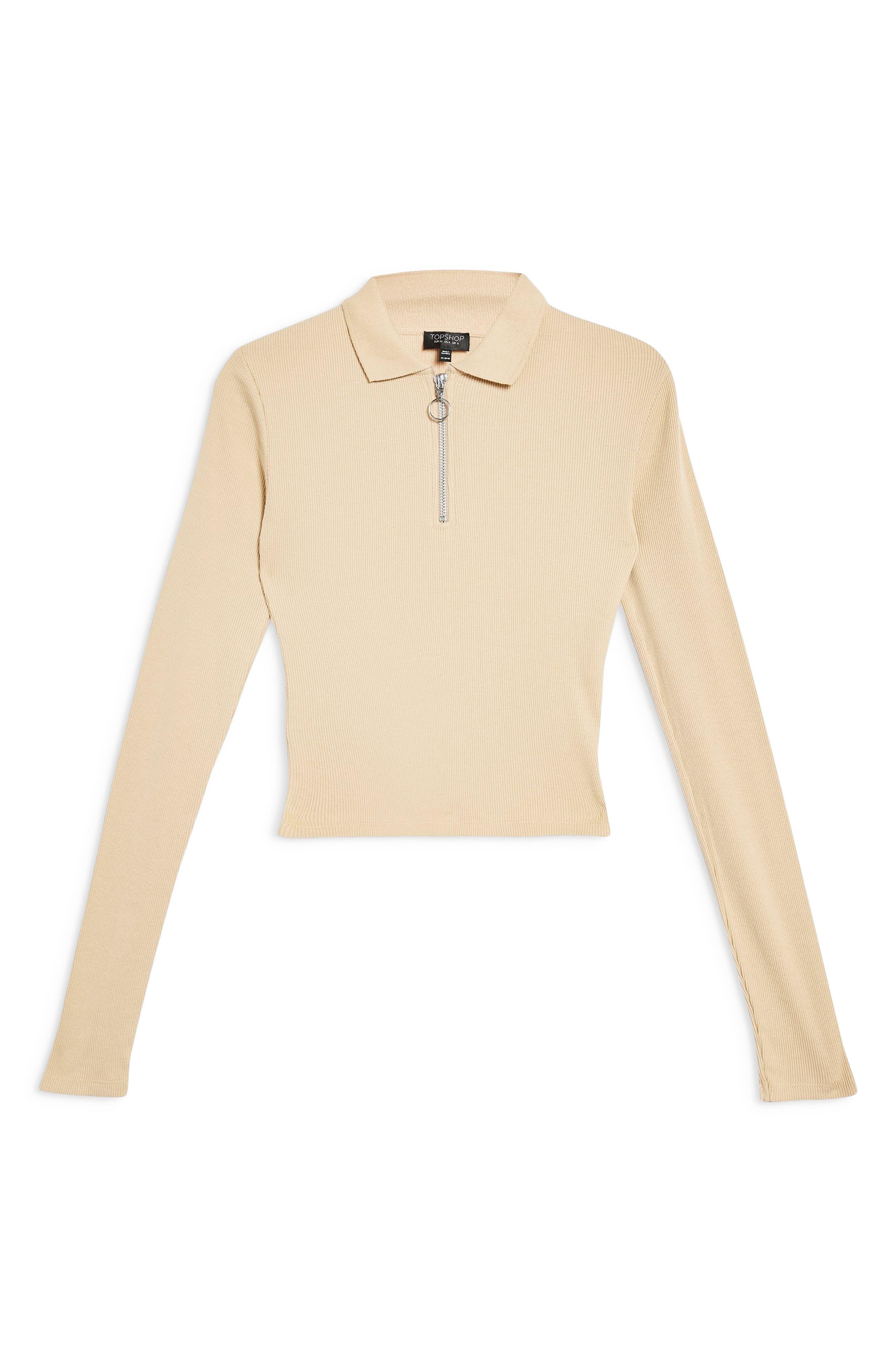 ,                             Front Zip Polo Shirt,                             Alternate thumbnail 3, color,                             STONE