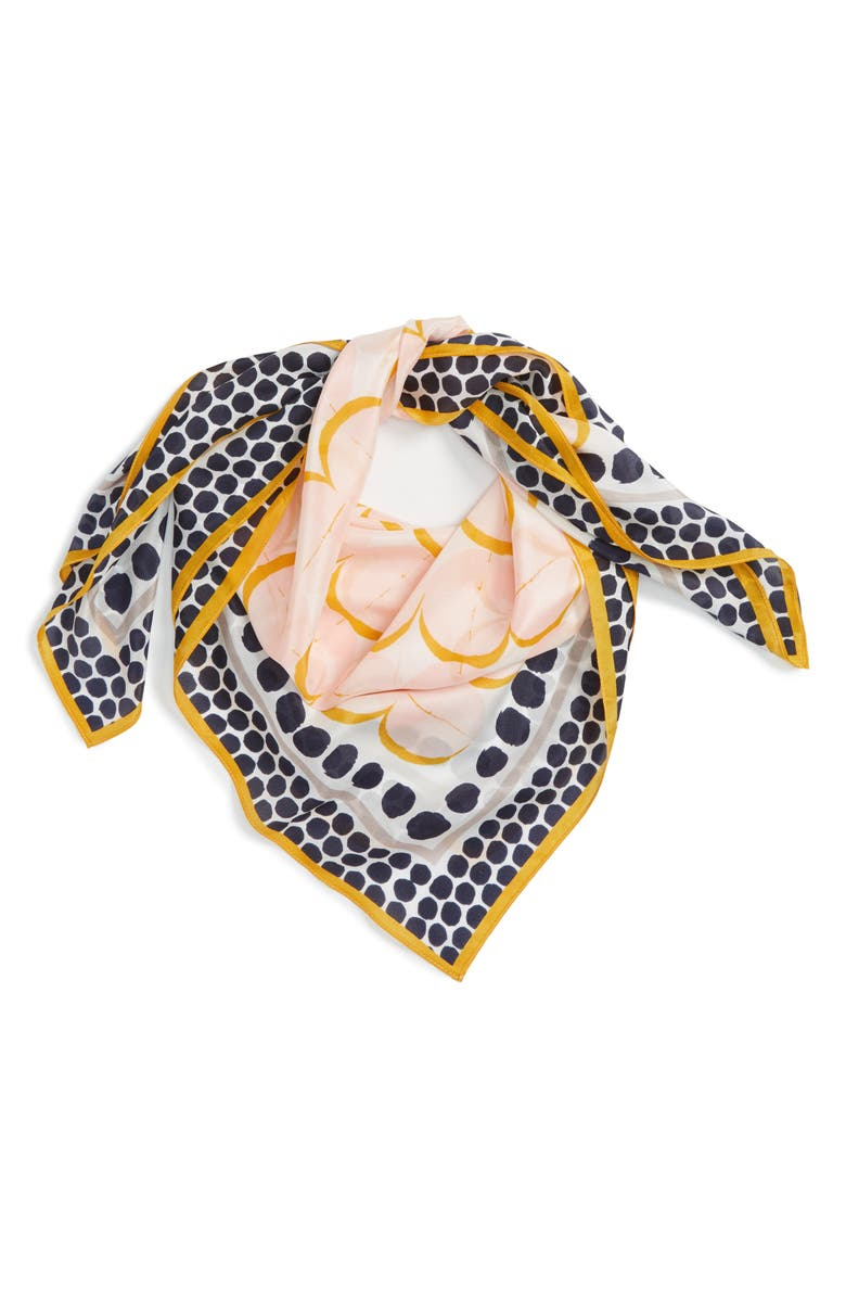 HALOGEN<SUP>®</SUP> Downtown Dots Square Silk Scarf, Main, color, 410
