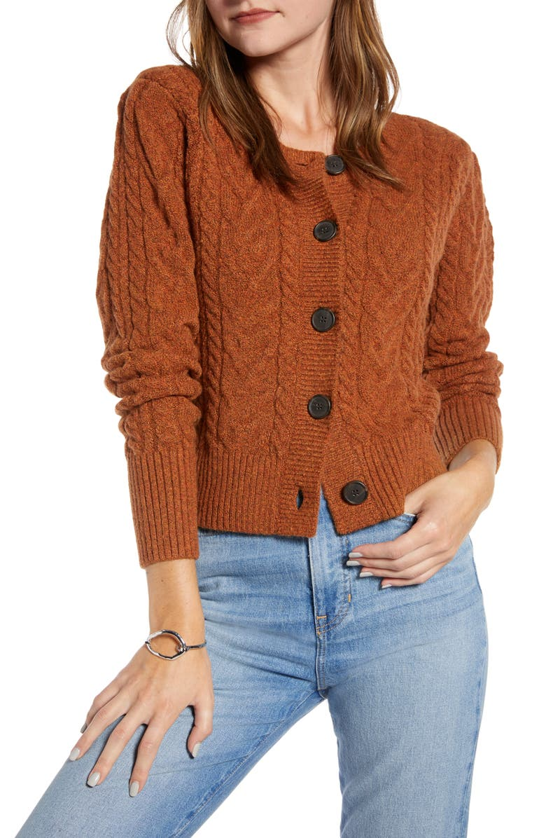 SOMETHING NAVY Crewneck Cable Cardigan, Main, color, RUST LEATHER