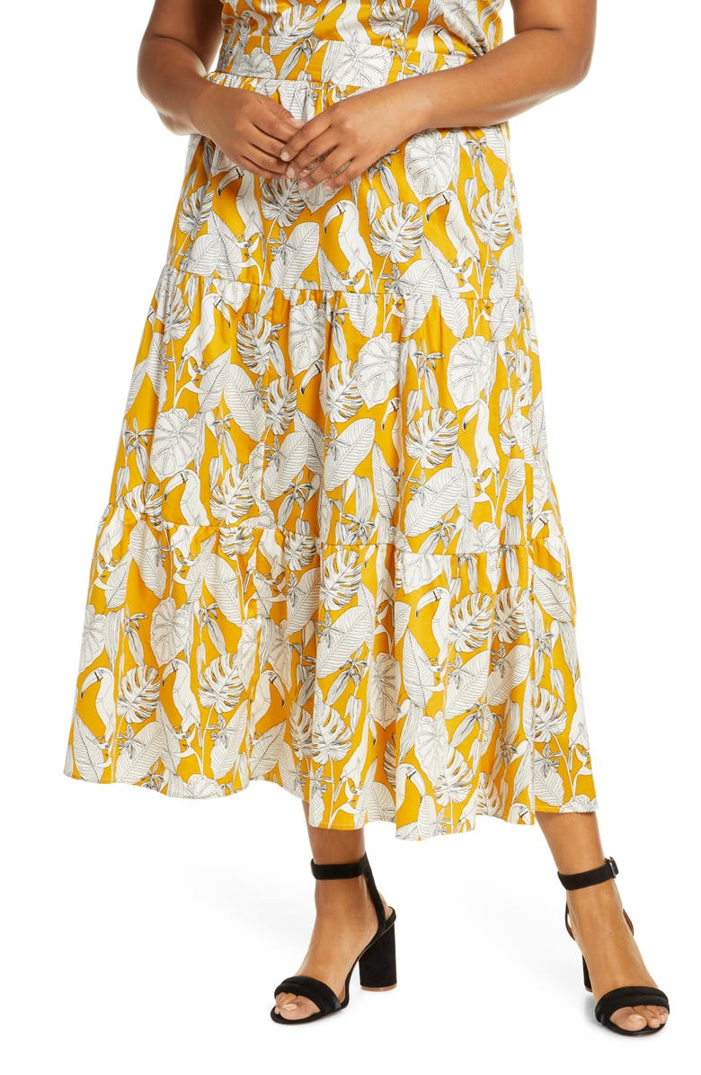 ELOQUII Tropical Print Tiered Cotton Maxi Skirt, Main, color, TOUCAN PLAY