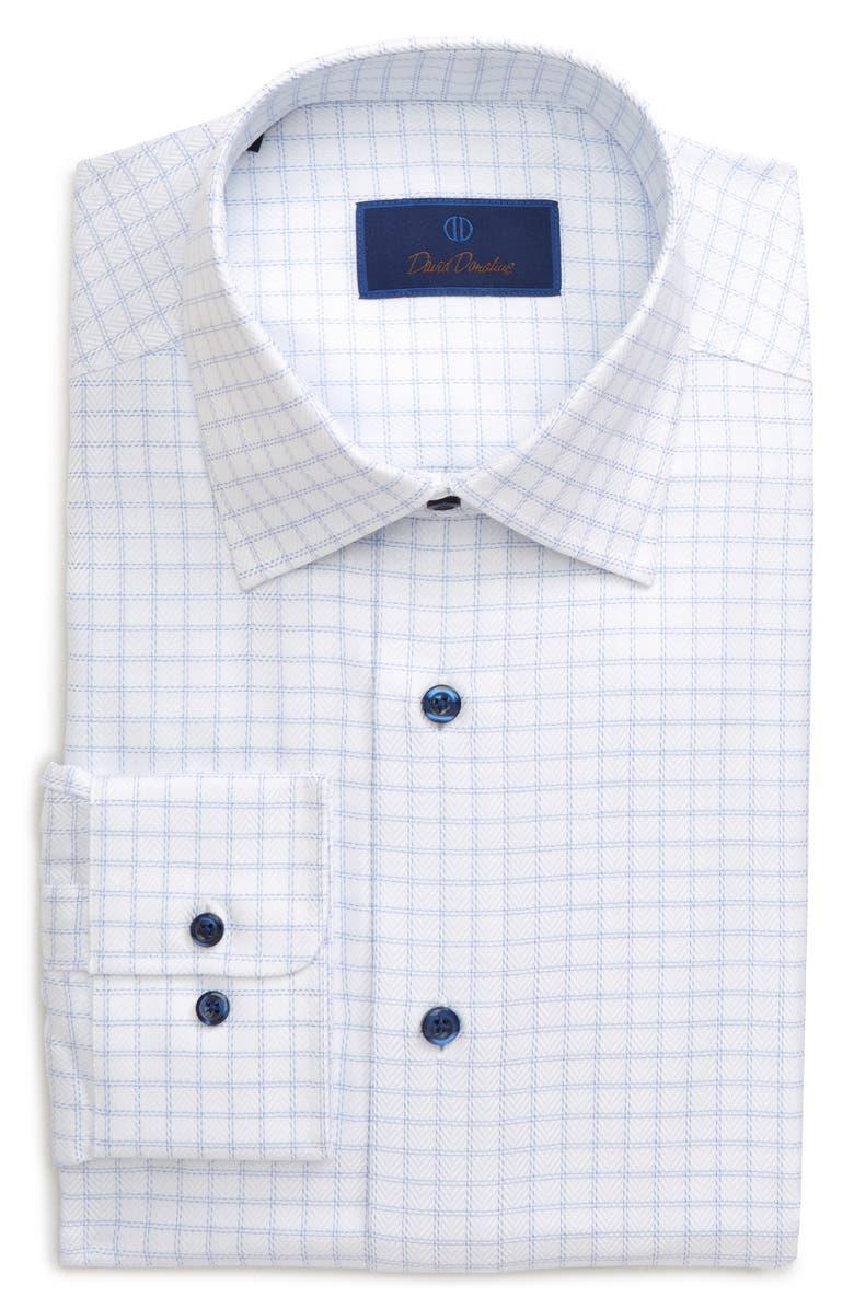DAVID DONAHUE Regular Fit Windowpane Dress Shirt, Main, color, WHITE/ BLUE