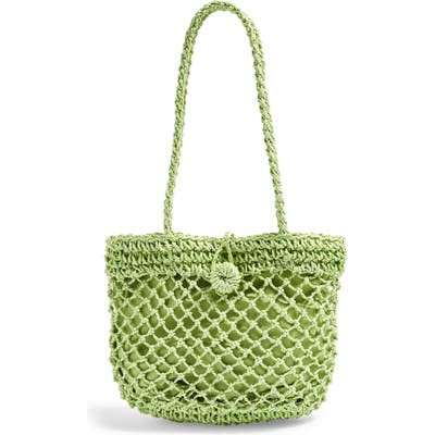 Topshop Fizzle Straw Tote - Green