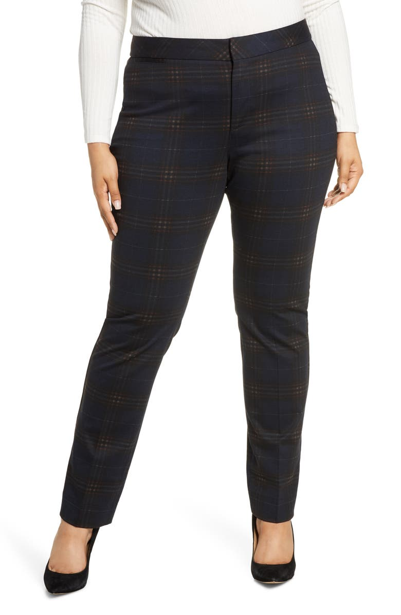 NYDJ Plaid Slim Trousers, Main, color, OAKLAN PLAID