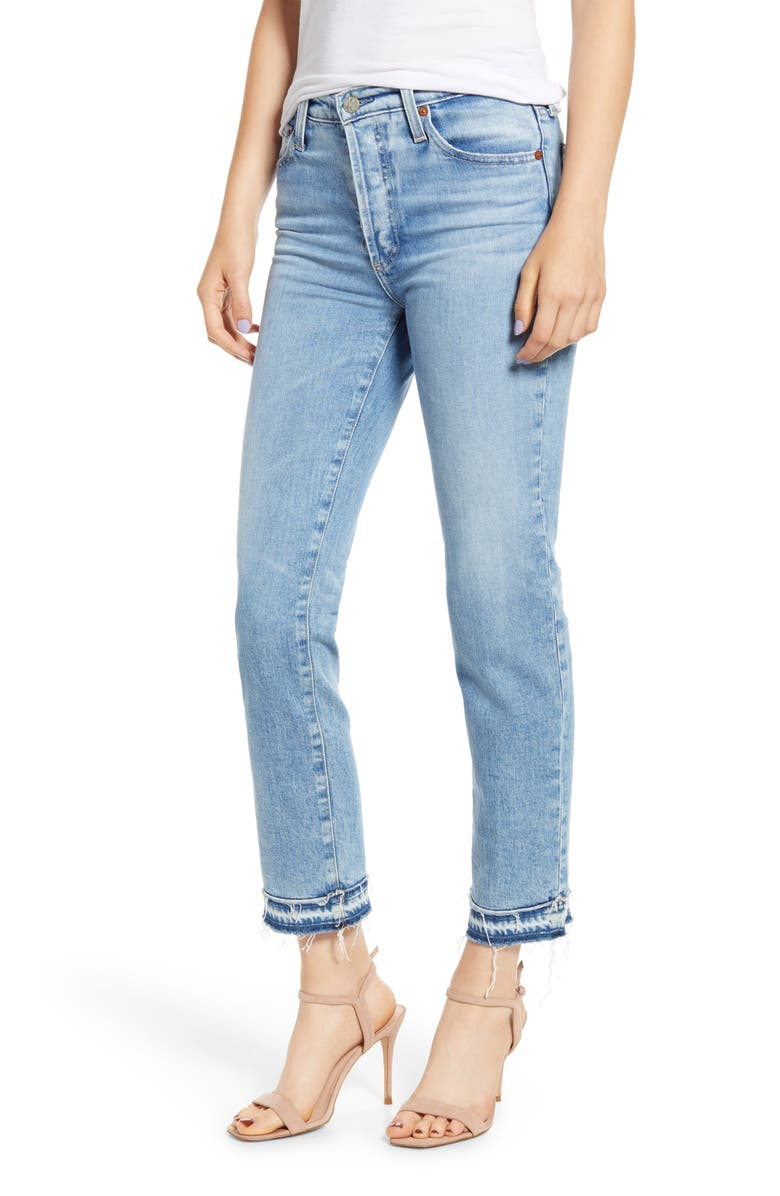 AG Isabelle High Waist Hem Detail Ankle Straight Leg Jeans, Main, color, 22 YEARS BLUE SOLSTICE