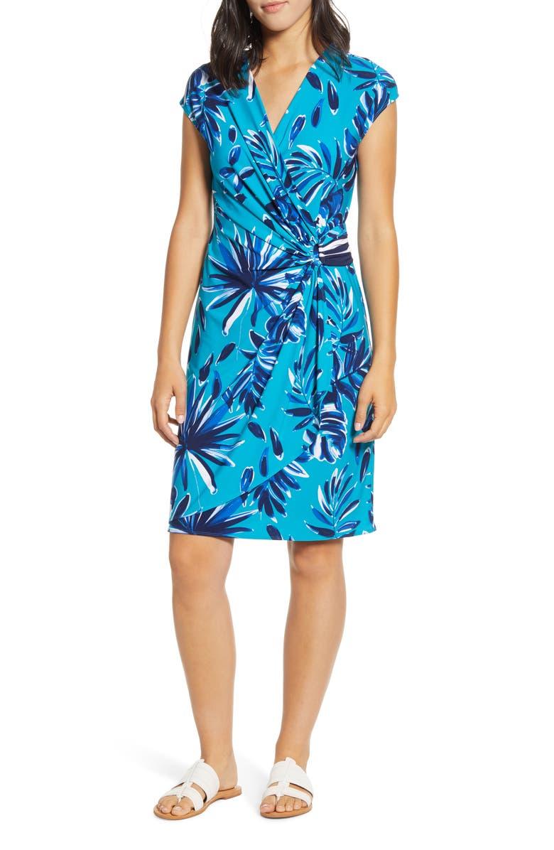 TOMMY BAHAMA Botanical Blitz Faux Wrap Dress, Main, color, AMALFI SEA