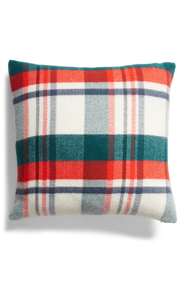 RACHEL PARCELL Tartan Plaid Accent Pillow, Main, color, GREEN BOTANICAL PLAID