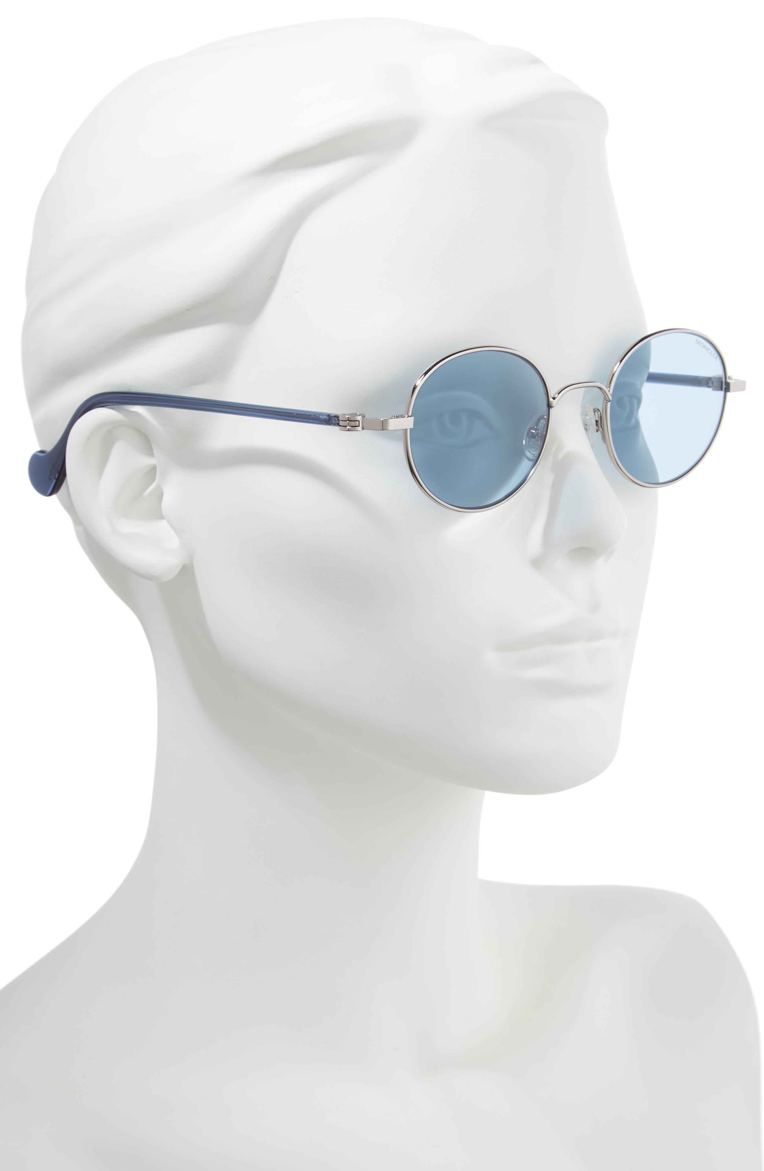 ,                             49mm Round Metal Sunglasses,                             Alternate thumbnail 2, color,                             SHINY LIGHT RUTHENIUM/ BLUE