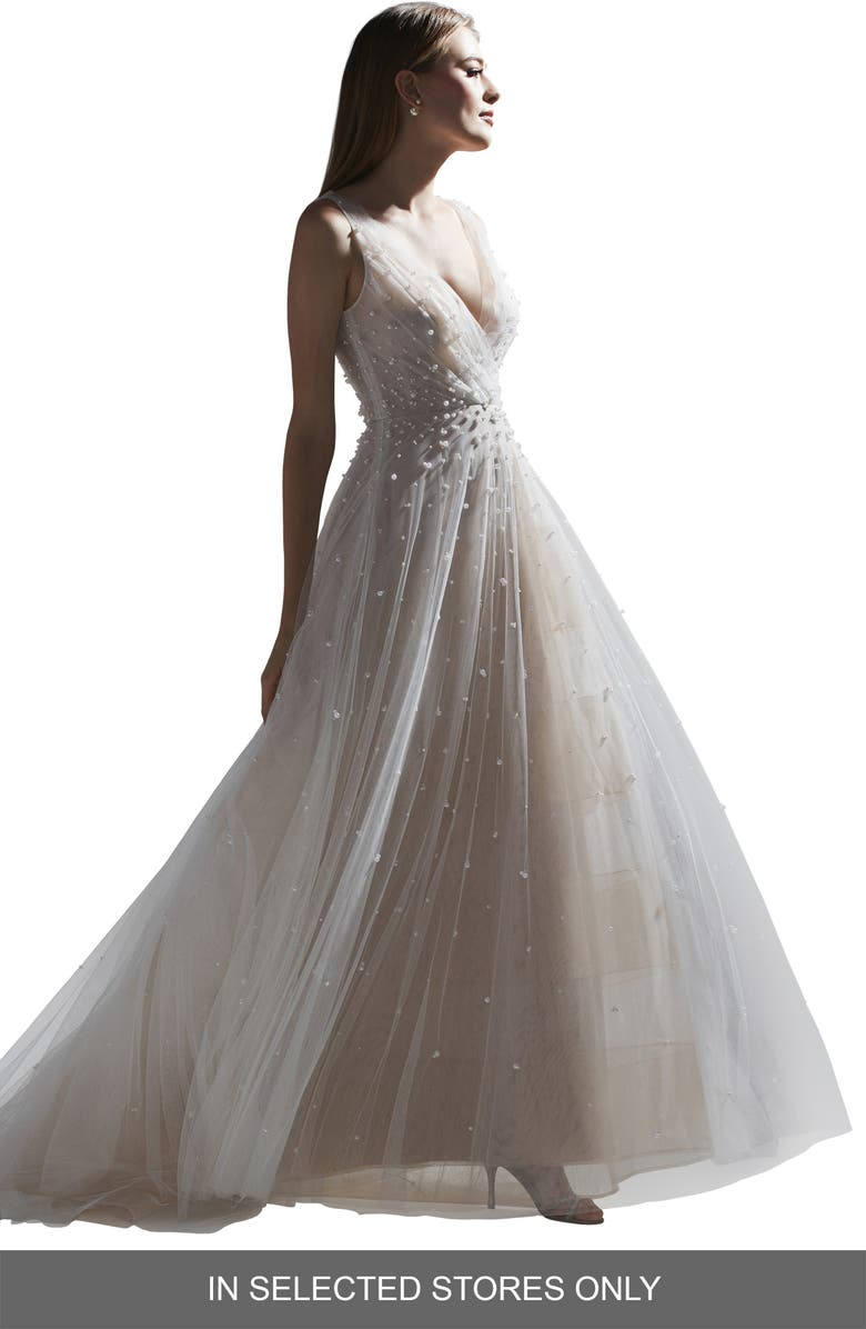 WATTERS Kodi Beaded Tulle Wedding Dress, Main, color, IVORY/ BLUSH