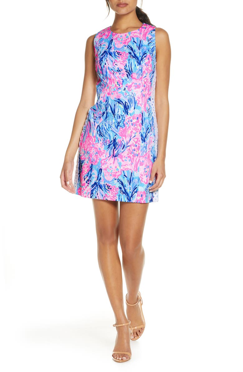 LILLY PULITZER<SUP>®</SUP> Mila Sleeveless Stretch Sheath Dress, Main, color, PERIWINKLE PURPLE FAN SEA