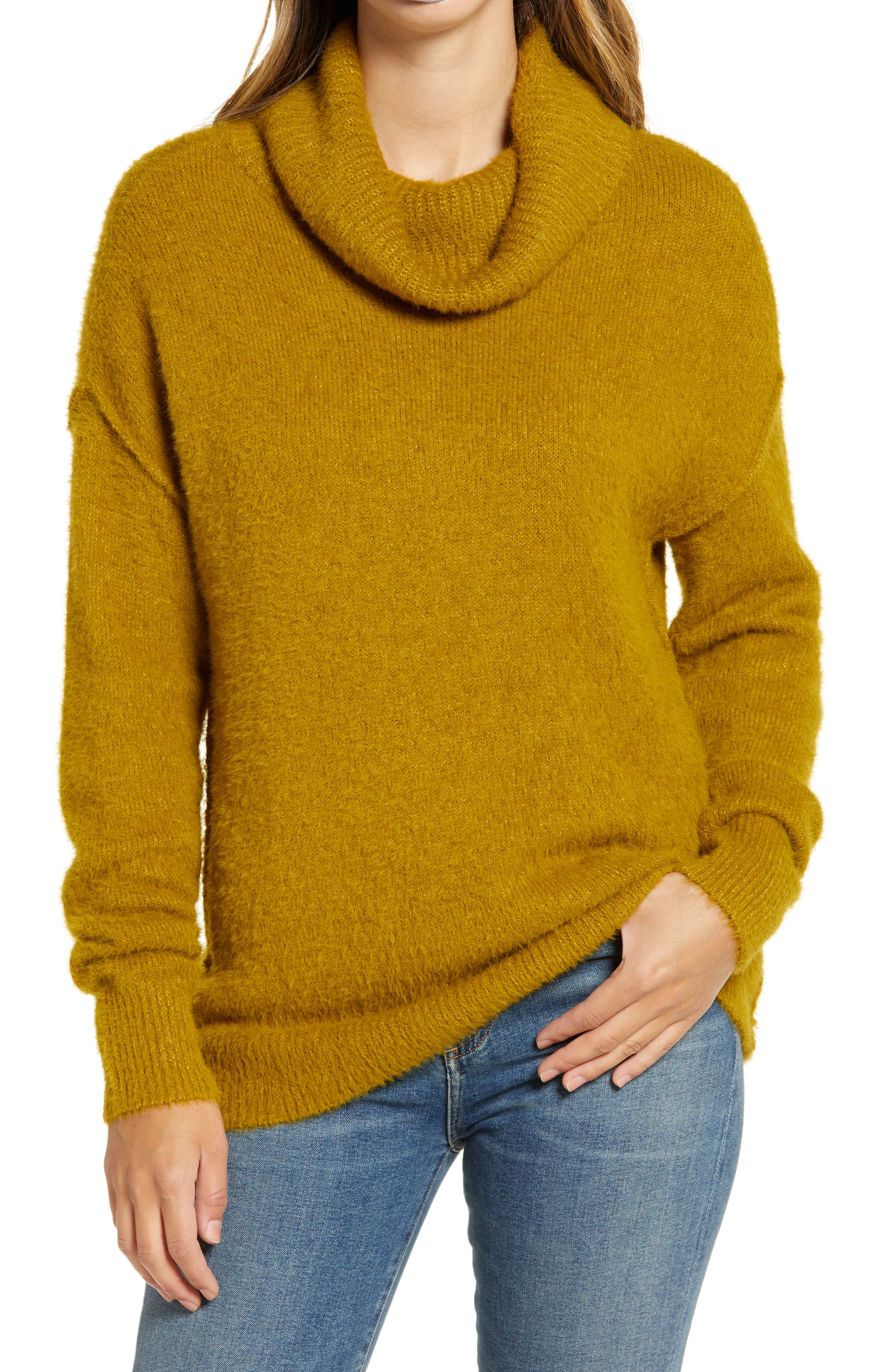 Soft chenille yarn enhances the comfy-chic vibe of this drop-shoulder turtleneck sweater designed in a bum-covering length. Style Name: Caslon Turtleneck Sweater. Style Number: 5793096. Available in stores.