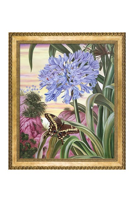 Image of Overstock Art Blue Lily and Large Butterfly by Marianne North Framed Hand Painted Oil on Canvas