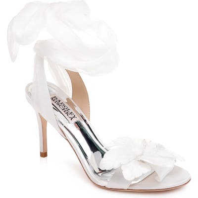Badgley Mischka Almira Ankle Tie Sandal, White