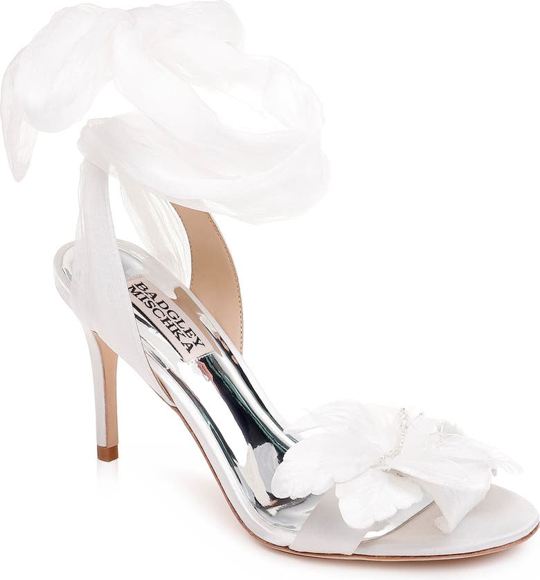 BADGLEY MISCHKA COLLECTION Badgley Mischka Almira Ankle Tie Sandal, Main, color, SOFT WHITE SATIN