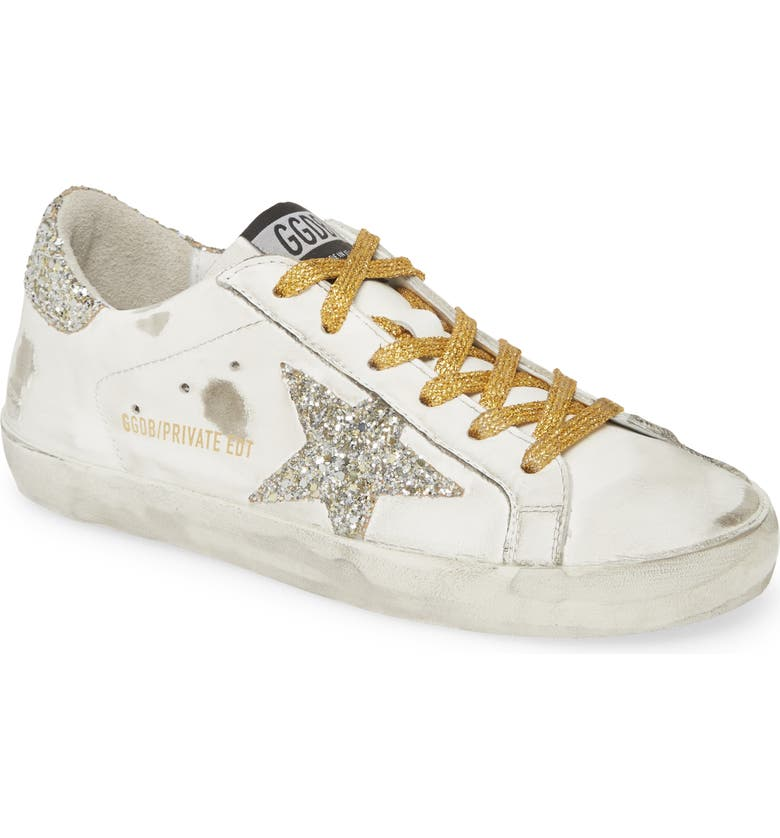 GOLDEN GOOSE Superstar Low Top Sneaker, Main, color, WHITE/ GOLD GLITTER