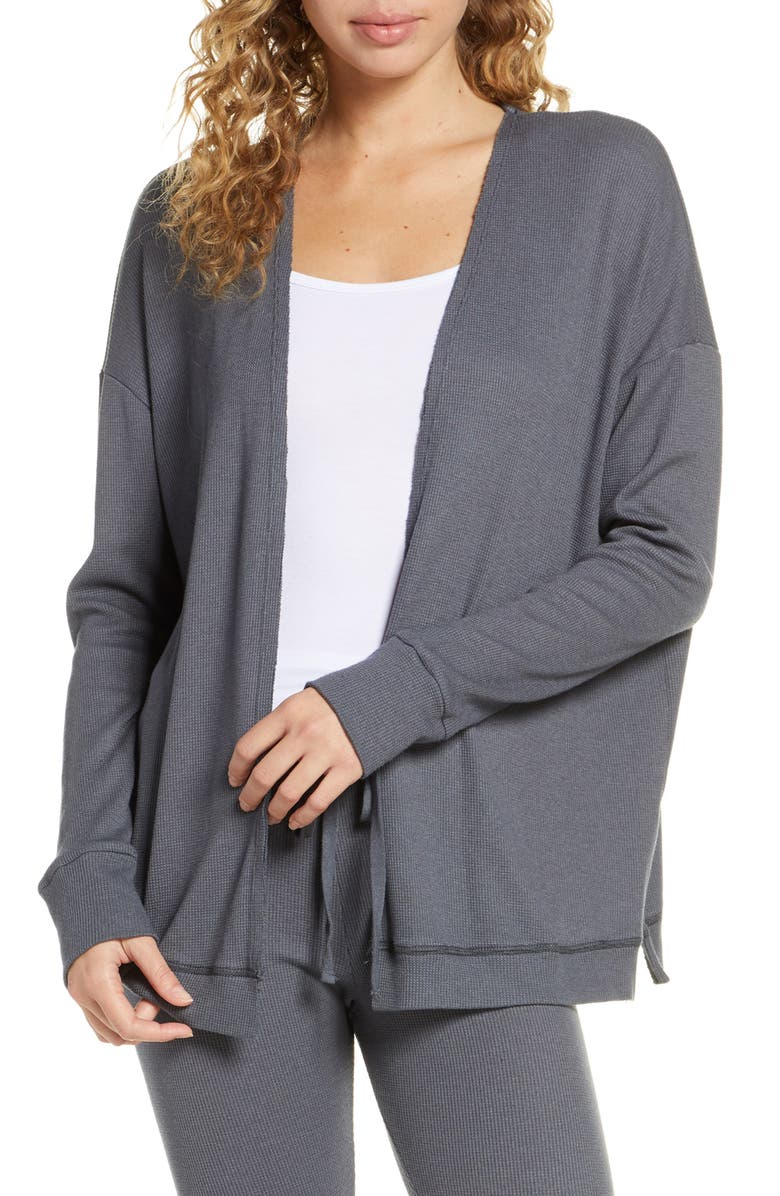 PROJECT SOCIAL T Thermal Cardigan, Main, color, CHARCOAL