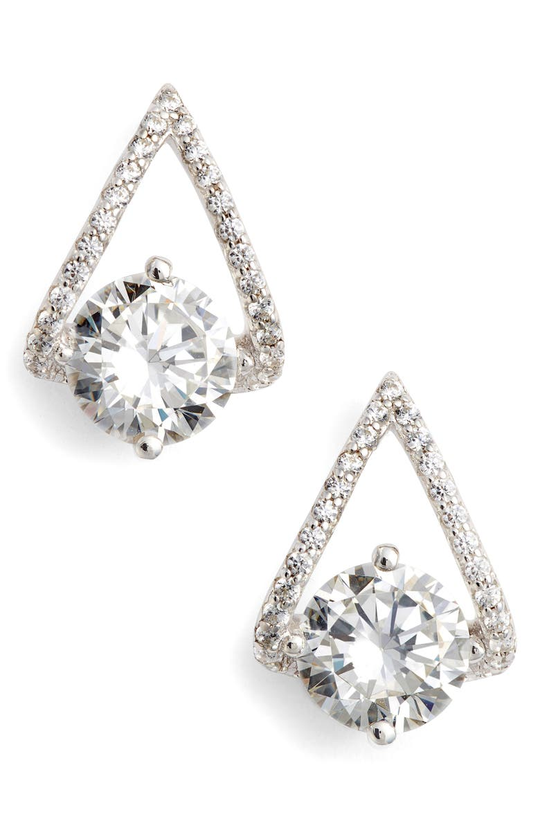 LAFONN Simulated Diamond Drop Earrings, Main, color, SILVER/ CLEAR