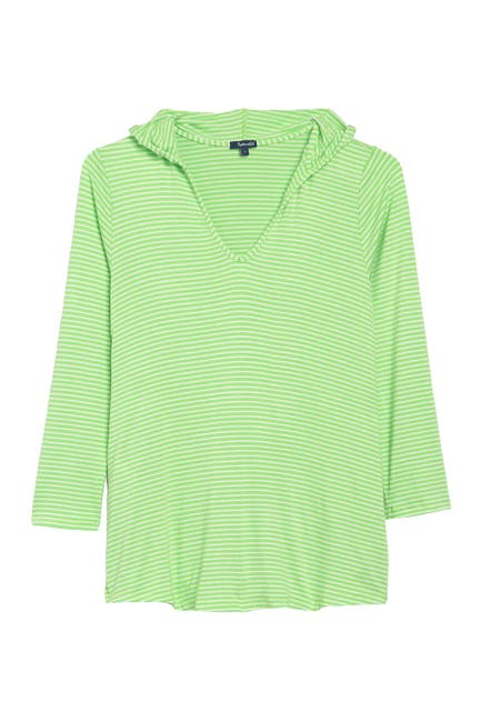 Image of Splendid Soft Sweet Striped Hoodie Cover-Up Tunic