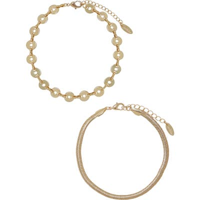 Ettika Disc & Flat Chain Anklet Set
