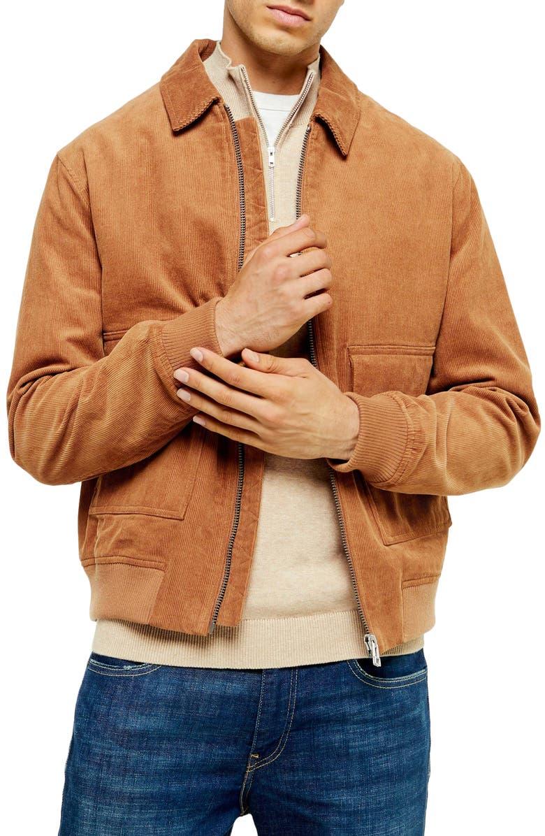 TOPMAN Corduroy Harrington Jacket, Main, color, STONE