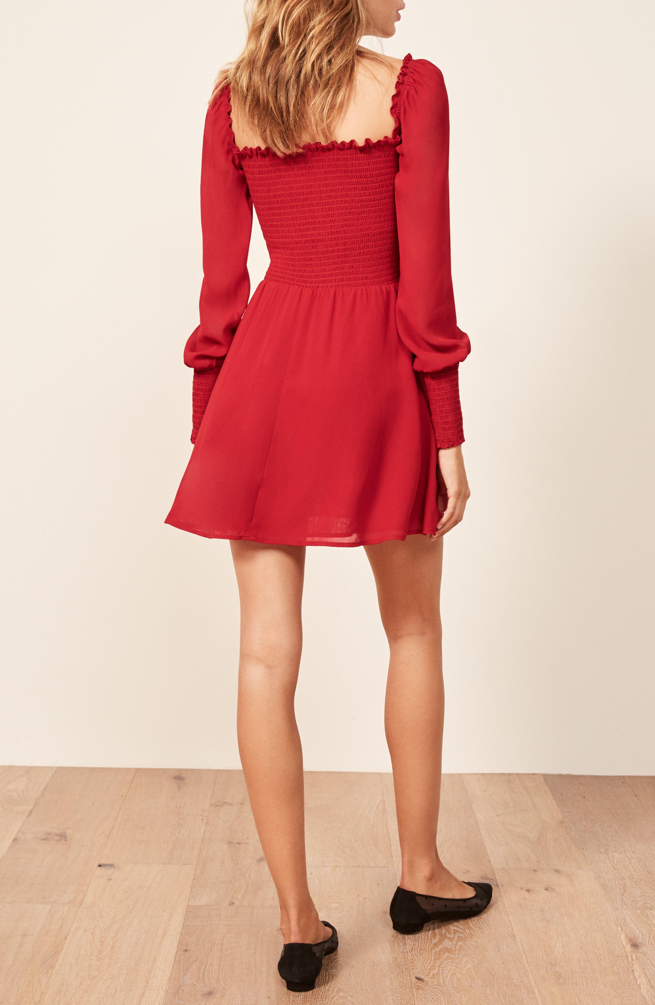 ,                             Kelli Smocked Bodice Fit & Flare Minidress,                             Alternate thumbnail 10, color,                             600