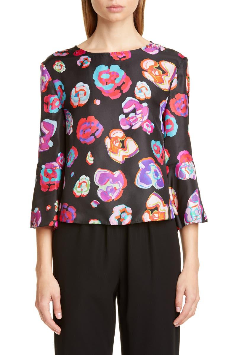 EMPORIO ARMANI Floral Print Silk Blouse, Main, color, BLACK MULTI