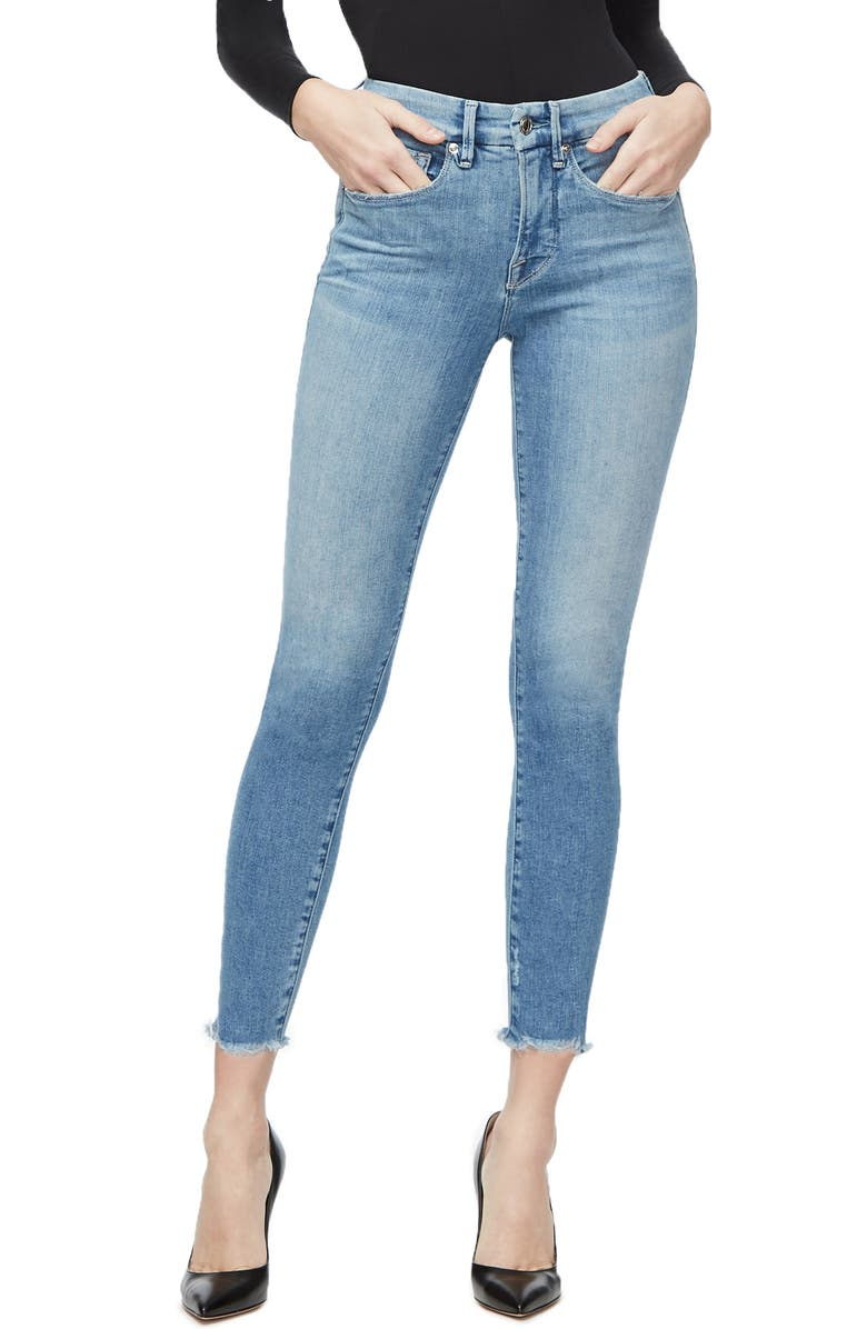 GOOD AMERICAN Good Legs Raw Edge Ankle Skinny Jeans, Main, color, 402