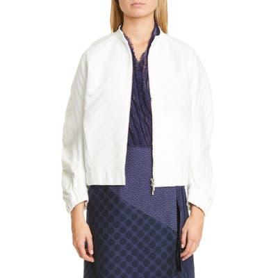 Zero + Maria Cornejo Cuadro Dot Jacquard Organic Cotton Blend Bomber Jacket, White