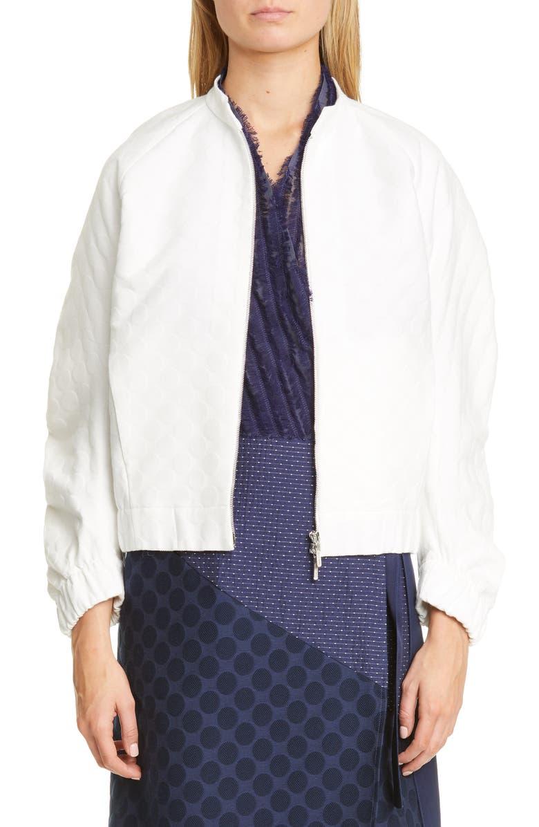 ZERO + MARIA CORNEJO Cuadro Dot Jacquard Organic Cotton Blend Bomber Jacket, Main, color, 100
