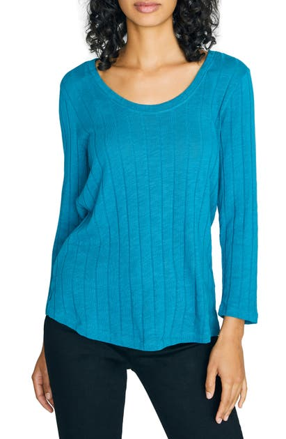 Sanctuary Tops RUBY RIBBED LONG SLEEVE COTTON BLEND TEE