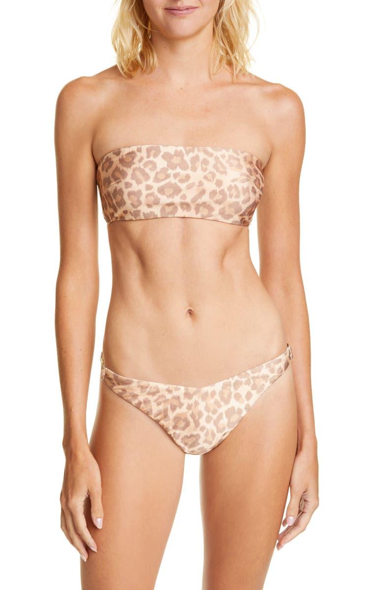 ZIMMERMANN Kirra Leopard Print Two-Piece Swimsuit, Main, color, TAUPE LEOPARD