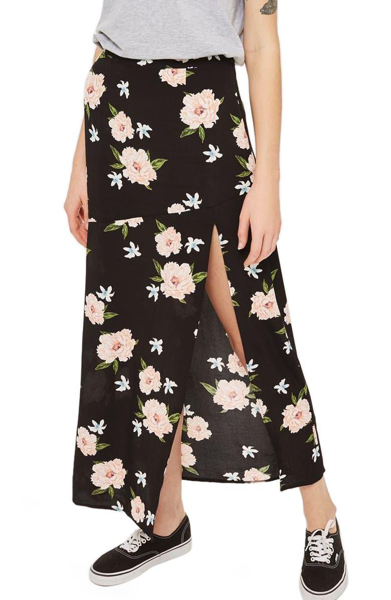 TOPSHOP Split Floral Maxi Skirt, Main, color, 001