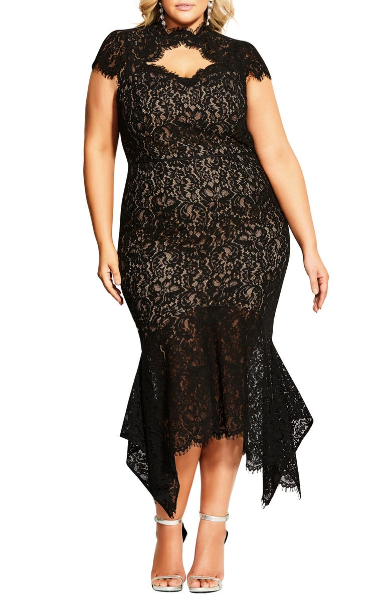 CITY CHIC Lace Cotton Blend Mermaid Dress, Main, color, BLACK