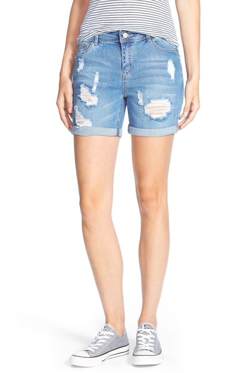 HART DENIM 'Nixie' Cuffed Denim Shorts, Main, color, LIGHT STONE