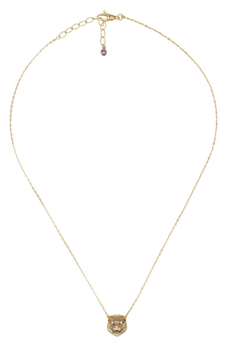 GUCCI Le Marché des Merveilles Feline Head Reversible Pendant Necklace, Main, color, YELLOW GOLD/ PURPLE