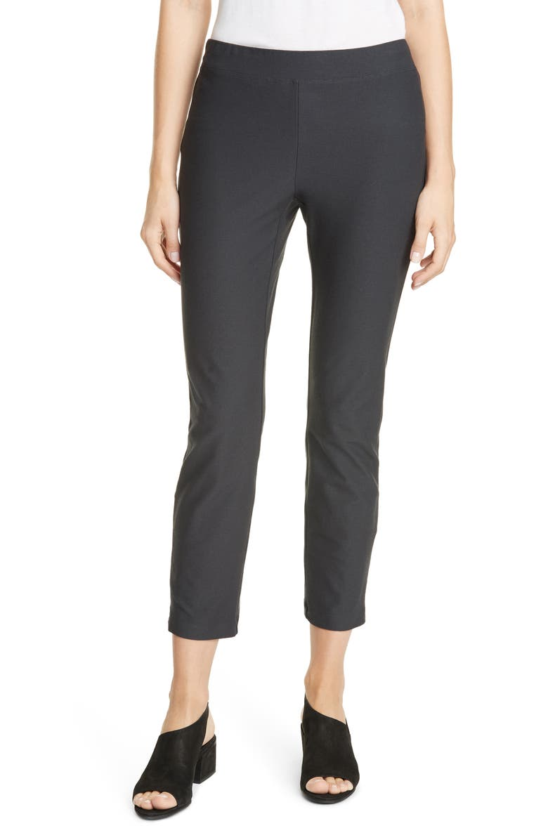 EILEEN FISHER Slim Zip Ankle Knit Pants, Main, color, CHARCOAL